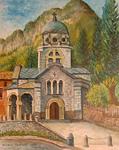 Il Tempio dei Caduti in un quadro di Romano Oprandi
