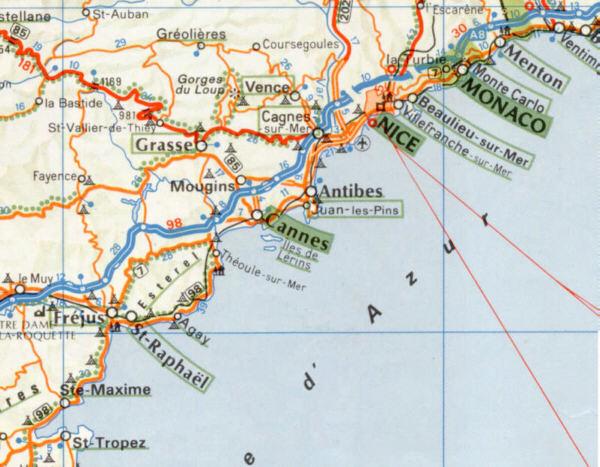 Cartina Costa Azzurra.Viaggi In Costa Azzurra